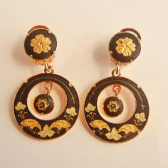 Vintage Faux Damascene Clip Earrings by RescuedTreasure on Etsy