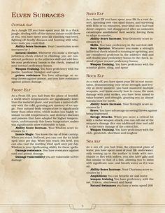 DnD 5e Homebrew — Elven Subraces by Marvl101