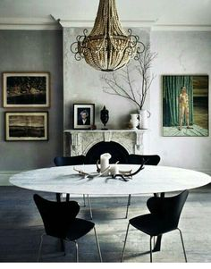 Moody Dining Room With An Eclectic Mix Of Modern And Antique Furniture U0026  Decor.