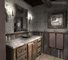 11.12.13 DIamond mine bathroom redesign. Barn wood / reclaimed wood wainscot. TIn tile backsplash. Deep rose/gray accent tones as opposed to lighter colors from first renderings. Feels more Victorian and authentic. Warm and cozy. Champagne colored metallic floor tiles.