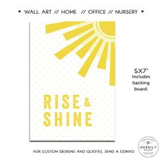 Rise and Shine Home Office or Nursery Art Baby by MERRILYDESIGNS
