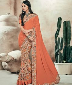 Buy Orange Crepe Printed Saree With Blouse 73993 with blouse online at lowest…