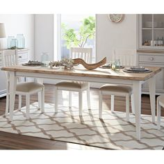 Extendable Dining Table 6 Seater White Brown Solid Pine Wooden Kitchen Furniture