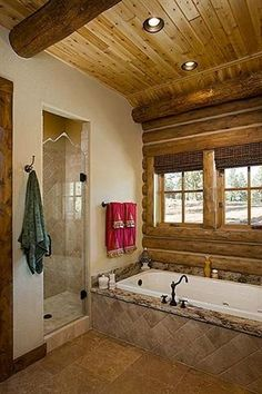 The exterior wall siding and ceiling of this well-appointed bathroom provide an elegant look for this homeowner.