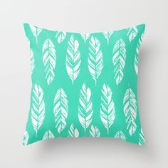 beautiful feather pillow bright mint green pillow