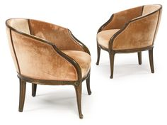Louis Majorelle PAIR OF ARMCHAIRS mahogany and fabric upholstery - 1900