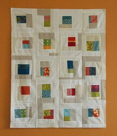 Improv style quilt with lots of white & color, spottedstonestudio