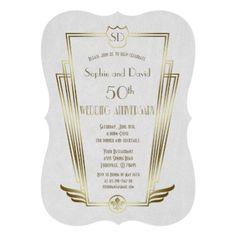 Royal Gold Art Deco Monogram Wedding Anniversary Card - monogram gifts unique design style monogrammed diy cyo customize