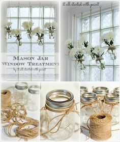 Cute DIY Home Decor Ideas Mason Jar window treatment. I like this but I'd need to use fake flowers.or they'd always be deadMason Jar window treatment. I like this but I'd need to use fake flowers.or they'd always be dead