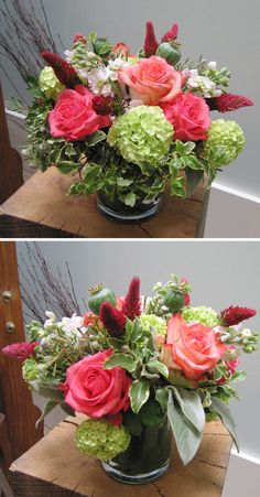 coral and green wedding flowers
