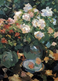 Blue roses in jugs. 1917 \\ Konstantin Alekseyevich Korovin-the brightest representative of Russian impressionism.