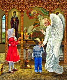 """Illustrations for """"My First Prayerbook"""", Children at Church with Guardian Angel Russian Painting, Russian Art, Pictures Of Jesus Christ, Christian Artwork, Avatar The Last Airbender Art, Orthodox Icons, Sacred Art, Religious Art, Christianity"""