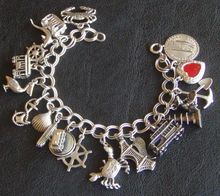 """Sterling Charm Bracelet, Solid Silver, """"I Left My Heart In San Francisco"""" Theme , Cable Cars, Dungeness Crabs and Golden Gate Bridge"""