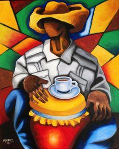 Black coffee and conga Coffee Artwork, Colombian Art, Latino Art, Afrique Art, Cubist Art, Cigar Art, Jazz Art, Caribbean Art, Tropical Art