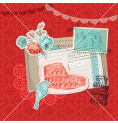 Italy vintage card with stamps vector by woodhouse84 on VectorStock®