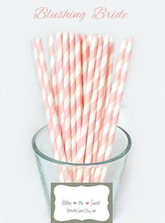 Light Pink Paper Straws - Striped Party Straws    Celebrate with these high quality vintage inspired striped paper straws. Paper straws are the