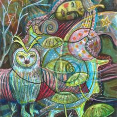'Fibonacci's Dream' by Elizabeth D'Angelo Beautiful Artwork, Folk Art, Mystery, My Arts, Holographic, Painting, Animals, Owls, People