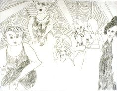 """""""Cocktail Party"""", 1967, Karen Casey, American, etching on paper, 6 7/8 x 8 7/8 in, Chancellor's Fine Arts Purchase Award, 1967 Transferred to Elliott University Center, UNCG. 1967.1489D"""