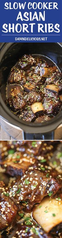 Slow Cooker Asian Short Ribs - Literally fall-off-the-bone tender! And all you have to do is throw everything into a crockpot. No cooking at all! Next time try adding bay leaves to add more depth in flavor! Rib Recipes, Asian Recipes, Crockpot Recipes, Cooking Recipes, Asian Desserts, Recipies, Cooking Tips, Cooking For Beginners, Smoker Recipes