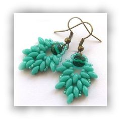 Sea Green Duo Bead Earrings with Fire Polish Crystal