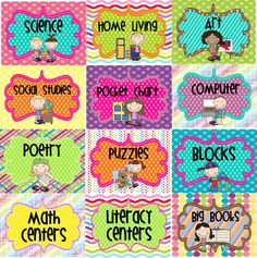 Classroom Organization - FREE Center Signs!