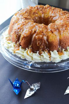This Pina Colada Rum Cake is moist, boozy, & upside-down - infused with everything coconut, crowned with a pineapple halo & toasted coconut caramel sauce. Bunt Cakes, Cupcake Cakes, Cupcakes, Food Cakes, Just Desserts, Delicious Desserts, Pina Colada Rum, Pineapple Upside Down Cake, Coconut Upside Down Cake