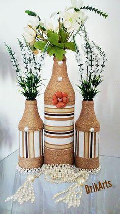 Glass Bottle Crafts, Wine Bottle Art, Glass Bottles, Janmashtami Decoration, Diy Crafts For Home Decor, Fabric Paint Designs, Altered Bottles, Recycled Bottles, Vase