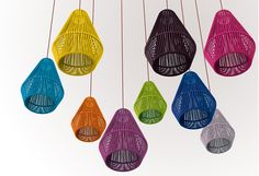 Suspension lamp with nickel canopy and acrylic braided cord lampshade in different colours. Colour chart in main catalogue and on website. Outdoor Entertaining, Lamp Design, Different Colors, Colour Chart, Product Launch, Entertainment Area, Grey Light, Colours, Purple