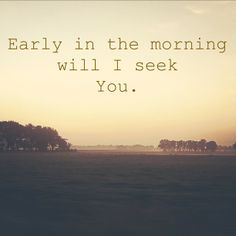 Early in the morning I will seek You.  Psalm 63:1