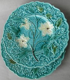Pair Antique White Blossoms Flower Turquoise Majolica Plates Villeroy Boch C1880 | eBay