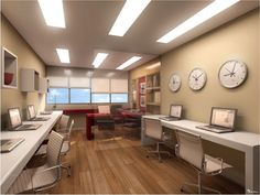 Resultado de imagem para escritorio comercial Small Office Design, Industrial Office Design, Small Space Office, Rustic Office, Home Office Design, Office Decor, Office Designs, Healthcare Design, Workplace Design