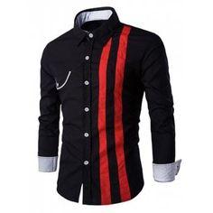 Flap Embellished Verticla Stripe Turn-Down Collar Long Sleeve Shirt For Men - Black L Men's Shirts And Tops, Casual Shirts For Men, Cool Shirts, Men Casual, Urban Outfits, Stylish Outfits, Stylish Clothes, African Men Fashion, Mens Suits