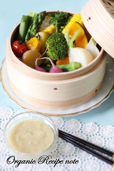 彩り野菜のせいろ蒸し&コク旨塩麹ディップ:うーらさん