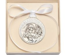 Pewter Baby with Guardian Angel Crib Medal with White Ribbon - Boxed by Truefaithgifts. Pewter Baby with Angel Crib Medal with White Ribbon. Medal is 2 inches high by inches wide. Made in the USA. Gift box is x inches. Ribbon Box, White Ribbon, Custom Engraving, Laser Engraving, Holding Baby, Baby Keepsake, Baptism Gifts, White Box, Newborn Baby Gifts