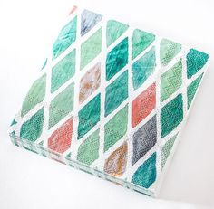 Paper napkins - mint green, emerald green, and coral harlequin diamond. Patterned napkins.  Party napkins.  Watercolor cocktail napkin.