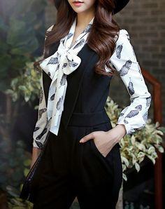 Elegant White Long Sleeve Bow Blouse, White, Dabuwawa | VIPme
