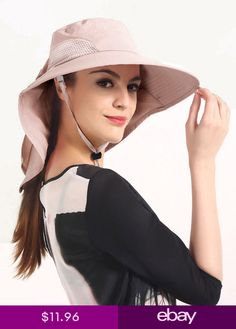 35a1e85095d Hiking Fishing Hat Outdoor Sport Sun Protection Neck Flap Cap Wide Brim  Foldable. Women s HatsSun ...