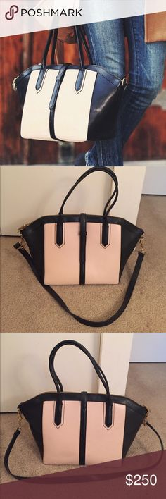 "J.Crew Colorblock Tartine Satchel Measurements: 10 1/2""H x 11""W x 7""D, 7 1/2 handle drop. Great condition. The handles are a little bent from storage, but this will straighten out with use. There is also a small amount of creasing/discoloration on the back of the bag (see photos). Comes with dust bag. Seen on Sarah Vickers from Classy Girls Wear Pearls. J. Crew Bags Satchels"