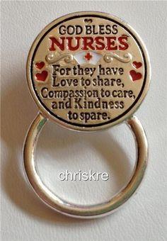 Nursing Gift ID Eyeglass Holder God Bless Nurses Silver Graduation USA Seller #Hopecollection