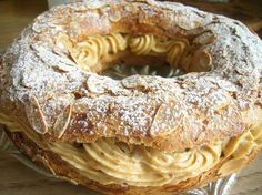 Paris Brest - Choux pastry with a Praline cream filling. Eclairs, Profiteroles, Pastry Recipes, Baking Recipes, Dessert Recipes, Pasta Choux, Cream Puff Recipe, Paris Cakes, Choux Pastry