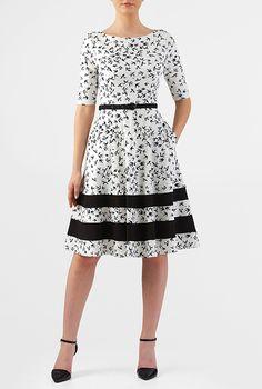 Contrast stripe belted bird print cotton knit dress