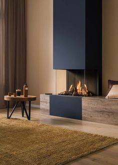 ・・・ Trimline Fires creates panoramic views with this Trimline 🔥 A three-sided panoramic fireplace that will elevate any decor - compact but stylish . Home Fireplace, Fireplace Remodel, Modern Fireplace, Living Room With Fireplace, Fireplace Design, Home Living Room, Living Room Designs, Living Room Decor, Fireplace Glass