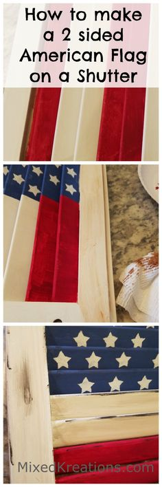 Home Decoration Interior how to make a 2 sided American Flag on a shutter.Home Decoration Interior how to make a 2 sided American Flag on a shutter Red Shutters, Wooden Shutters, Repurposed Shutters, Repurposed Wood, Diy Projects On A Budget, Diy Craft Projects, Outdoor Projects, Garden Projects, Craft Ideas
