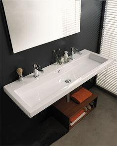 "LOVE this idea.  To have one long sink, but it is still a ""dual vanity"""