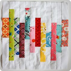 cute idea for just one quilt block or an entire quilt. Fun colors! And great project for scraps!