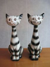 "Vintage Pair Ceramic or Porcelain Striped Black Cat Figurines 9"" Tall VERY CLEAN"