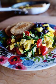 Veggie Scramble---There's nothing quicker or easier in life than whipping up a big skillet of scrambled eggs, and if you throw in a bunch of ...