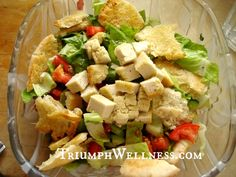 Vegan Fattoush Salad with Pita Strips and Cashew Feta  #veganmofo2013