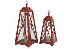 Asst. of 2 Nantucket Lanterns, Red on OneKingsLane.com