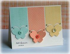 sweet card: Flutterby Trio _pb by peanutbee ... luv the silver details and the stylized die cut butterflies ...